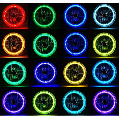 """7/"""" Bluetooth Cell Phone RGB SMD Color Change LED Halo Angel Eye Headlight Pair"""