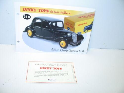 DINKY TOYS ATLAS fiche fascicule ref 24 N-2 citroen traction 11 BL noir 1949