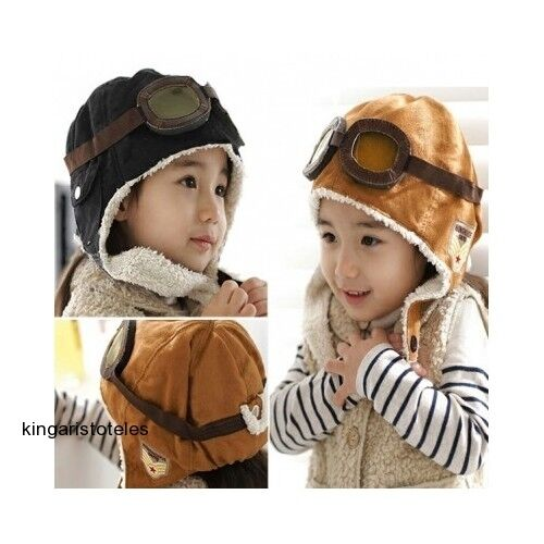 a2847b818ed Boys Pilot Hat Baby Toddler Kids Aviator Cap Winter Warm Soft Beanie Black  for sale online