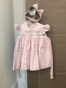 Pretty-Originals-Baby-Girls-Pink-amp-White-Smocked-Dress-With-Headband-6-9-Months