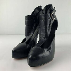 Dolce-Vita-Women-Size-7-Black-Leather-High-Heel-Shoe-Cut-Out-Buckle-Business