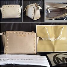 BNWT Michael Kors Studded Selma Gold Medium Messenger Crossbody Bag