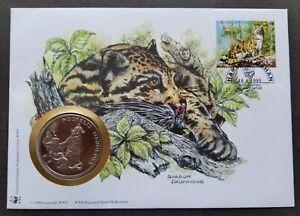 [SJ] Malaysia WWF Leapord 1995 Jaguar Big Cat Wildlife Mammals FDC (coin cover)