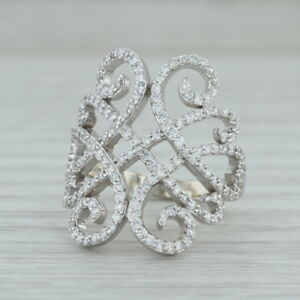 New-90ctw-Diamond-Openwork-Cocktail-Ring-14k-White-Gold-Size-6-75-Statement
