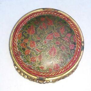 "Vintage Powder Compact, Floral Design on Top, Metal Woven Bottom, 2 3/4"" Diamete"