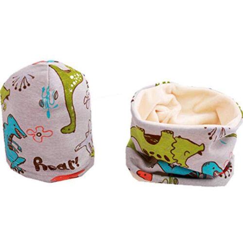 Baby Kids Dinosaur Winter Velvet Warm Hat Collar Scarf Set Neck Warmer Skull Cap