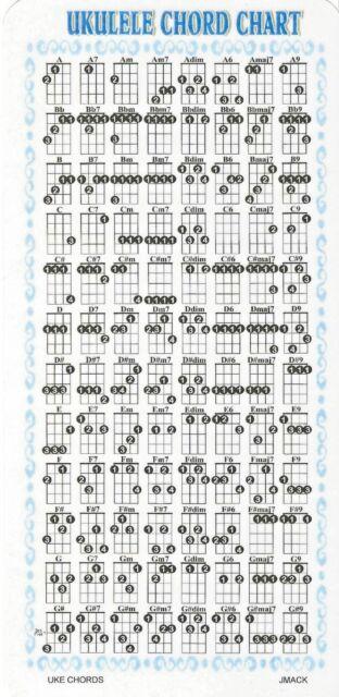 Uke Chord Chart For Ukulele Lesson G C E A Ebay