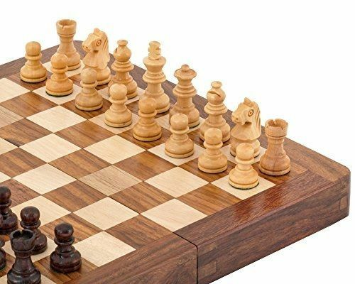 XL Large Chess Set 12'' Sheesham & Boxwood mini inlaid Magnetic storage slots