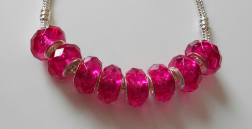 6 x  PINK OR PURPLE FACETED  ACRYLIC BEADS  EUROPEAN CHARM BRACELET SP CORE