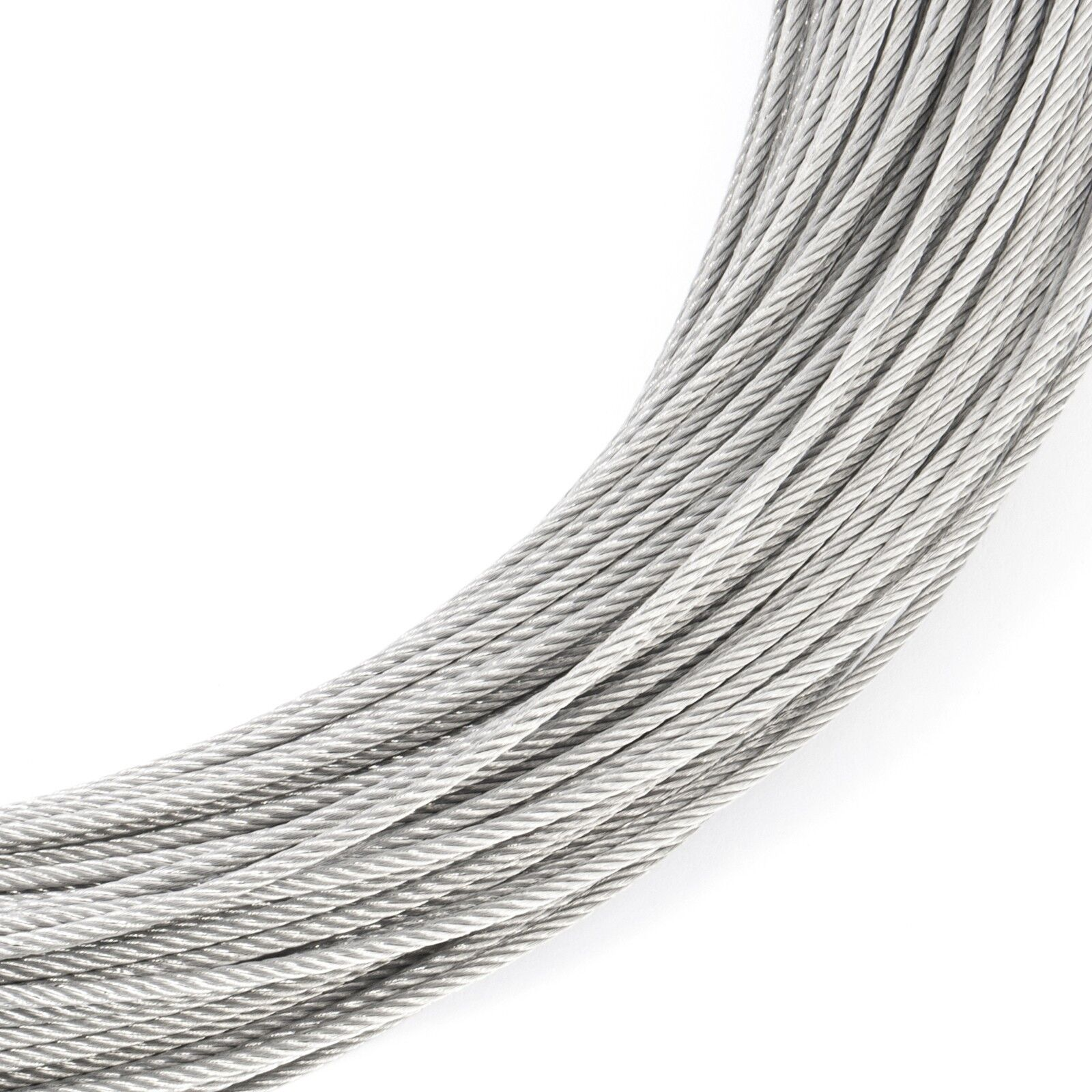 2mm STAINLESS STEEL CABLES stranded wire rope weaved cord V4A metal industry