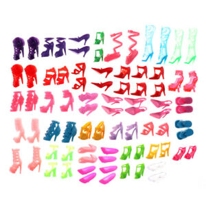80pcs-Mixed-Different-High-Heel-Shoes-Boots-for-Doll-Dresses-Clothes-TEJB
