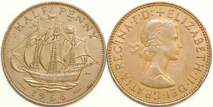 1953 To 1967 Elizabeth II Bronze Demi Penny de votre choix date/année Multibuy
