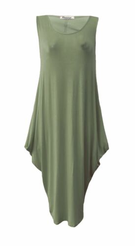 Womens Ladies Italian Lagenlook Tulip Parachute Dress Sleeveless Tunic Top 8-26