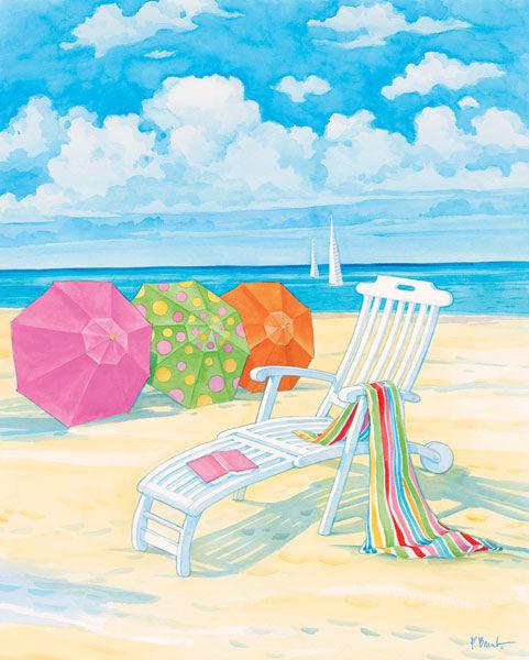 Paul Brent  Oceanside IV Keilrahmen-Bild Leinwand Strand Urlaub Ferien bunt Meer