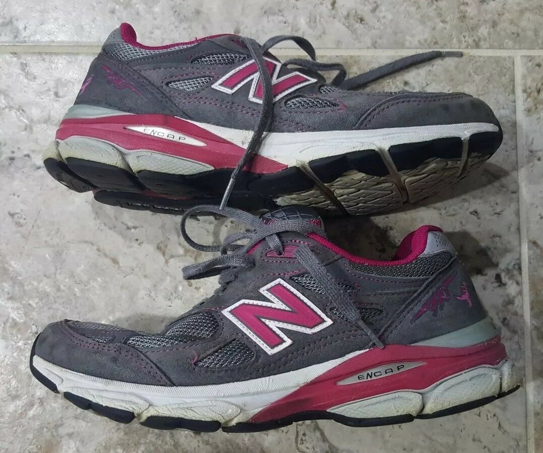 New Balance damen 990 V3 Running W990KM3 grau Rosa Weiß Größe 8.5 Breast Cancer