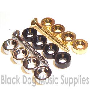 guitar neck joint bush 39 s in chrome black or gold plate bushing ferrules washer ebay. Black Bedroom Furniture Sets. Home Design Ideas