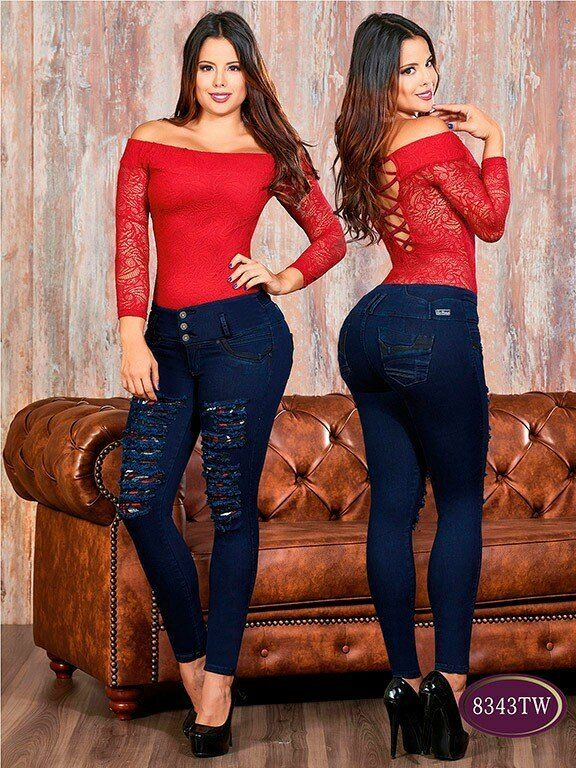 BUTT LIFTER COLOMBIAN SKINNY JEANS IN RIPPED STYLE  T BY TOP WOMAN JEANS