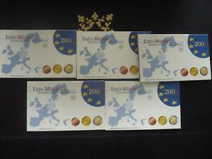 Kursmünzensatz BRD Euro ADFGJ Polierte Platte PP 2002 bis 2009