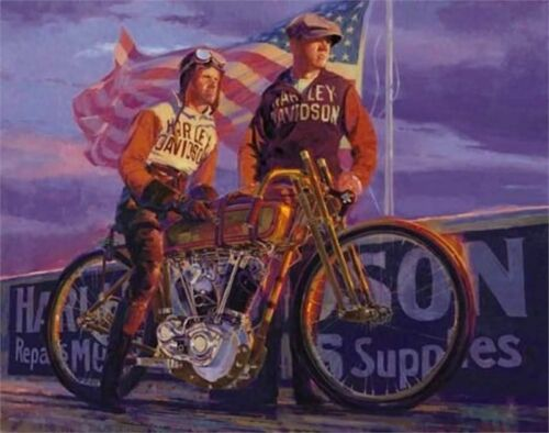 Harley Davidson Artwork Lithograph Great Doings Painting by Tom Fritz
