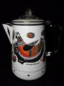 Vintage GEORGES BRIARD ROOSTER WHITE ENAMEL COFFEE PERCULATOR~EXCELLENT