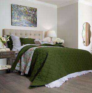 Arabella-Olive-Green-100-Cotton-Coverlet-Bedspread-Bedcover-Set-New