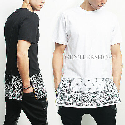 Avant Garde Mens Short Sleeve Bandana Paisley Long Zipper Tee, GENTLERSHOP