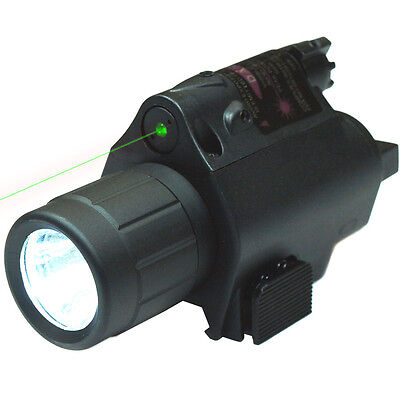 Tactical Powerful Green Laser Sight & CREE LED Flash Light Combo w/ Rail Mount