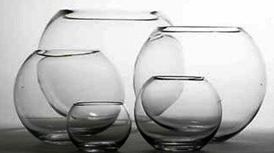 """8 X 5"""" OASIS GLASS FISH BUBBLE BOWL WEDDING TABLE CENTREPIECE CLEAR VASE (41233)"""