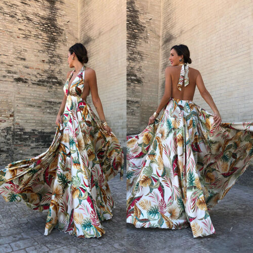 Boho Womens Floral Maxi Dress Evening Cocktail Party Summer Holiday Long Dresses