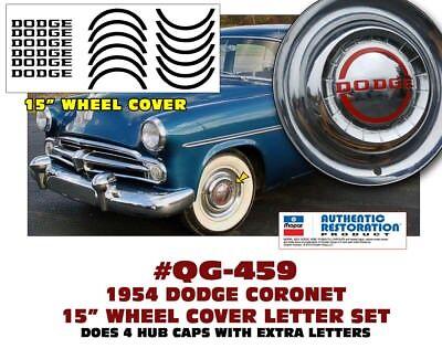 "QG-458 1952 DODGE CORONET DODGE LETTERS DECAL 15/"" WHEEL COVER HUB CAP"