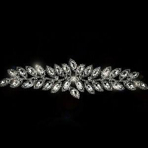 Diamante-Motif-Applique-Rhinestone-Silver-Crystal-Patch-DIY-Bridal-Fancy-Dresses