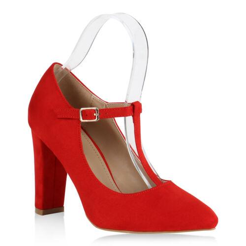 Damen Spitze Pumps Klassisch T-Strap Blockabsatz High Heels 818958 Schuhe