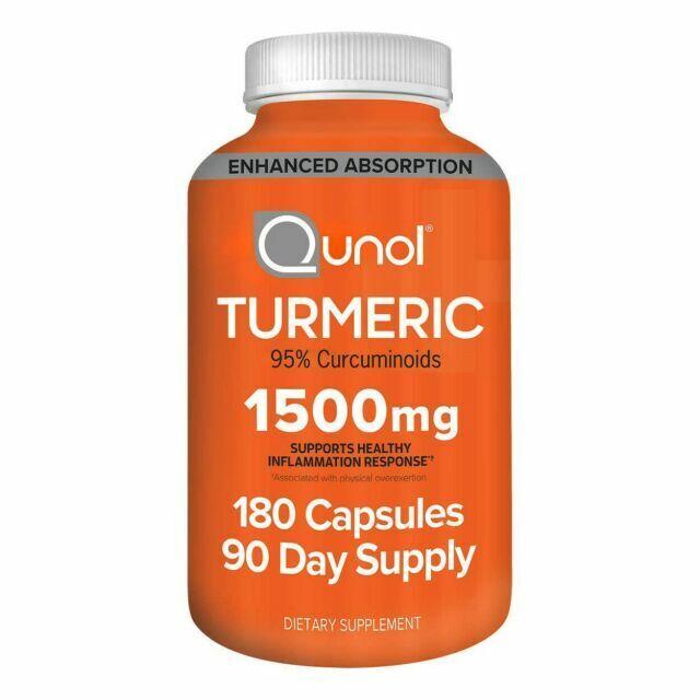 Qunol Turmeric Curcumin 1500mg with Bioprene Capsules - 180 Count