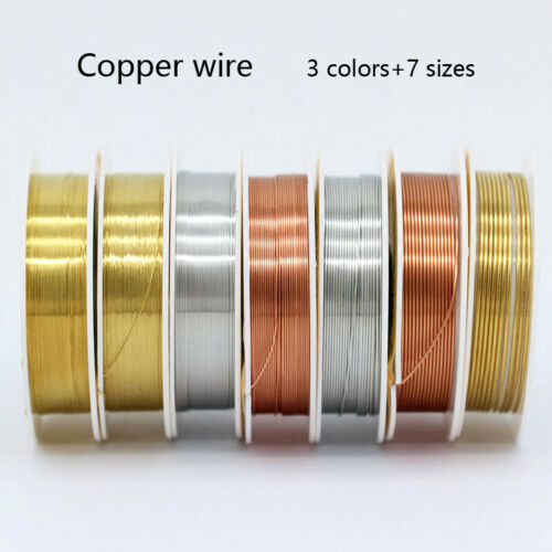 1 Roll Brass Silver Gold Soft Copper Wire Line for DIY Jewelry Making 0.2-1mm
