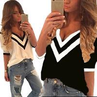 Damen V-Neck 3/4 Arm Chiffon Top Tunika T-shirt Sommer Lose Bluse Oberteile