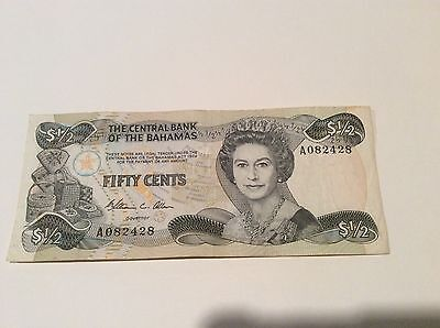 Honest Bahamas 1974 P42 1/2 Dollar Banknote Queen Elizabeth Ii Buy One Get One Free North & Central America
