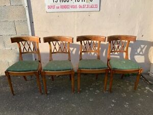 Set-of-4-French-Antique-19th-Century-Curved-Back-Bamboo-Effect-Dining-Chairs
