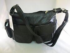 New Women Leather Shoulder Handbag Crossbody Organizer Purse Lambskin Black