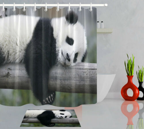 Bathroom Waterproof Fabric Shower Curtain Set Chinese Giant Panda Bear Cub 72/""