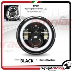Faro-LED-Halo-Black-Omologato-7-034-per-Harley-Touring-Headlight-Front-LED