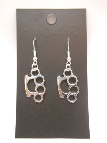 Knuckle Duster Earrings or Necklace 925 Sterling Silver Wires Clip On