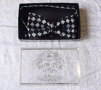 * Vintage Papillon Nero Grigio Check Tie Rack Totalmente Regolabile Smart Formali Soave-mostra Il Titolo Originale