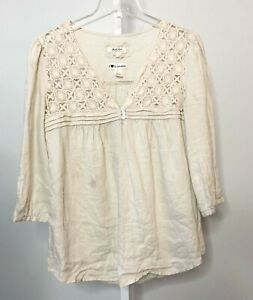 Malvin I Love Linen Medium Top Shirt Blouse Button 3/4 Sleeve Crochet