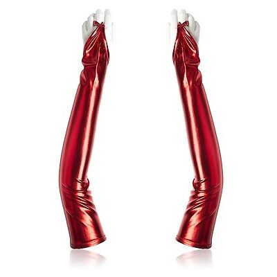 Ladies Shining PVC Look Finger Gloves, Hen Party Fetish Kit Costume Accessories