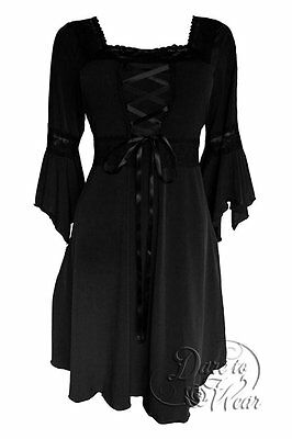 RENAISSANCE Gothic Victorian Classic BLACK Corset DRESS New Size 1X -MSRP $80