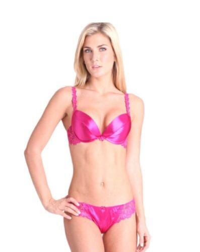 Splendour Hot Pink Satin Plunge Bra 34B Thong 10 RRP £36