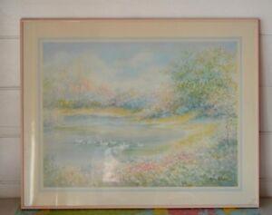 Vintage-ducks-lake-print-pink-frame-1980s-Nora-De-Bolt-wall-hanging-art-work