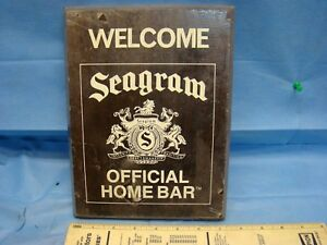 Seagram Official Home Bar Welcome Sign Plaque Seagrams