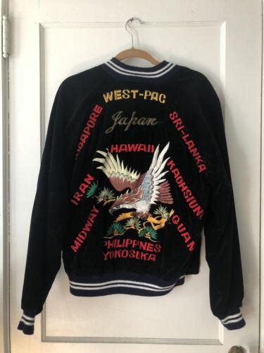 """Vintage """"West-Pac"""" Military Tour Souvenir VELVET J"""