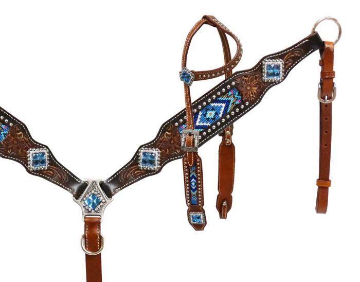 Conjunto De Tachuela caballo occidental Bling a mano con cuentas Brida Cabezada con pecho Collar